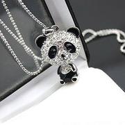 Lovely Diamond Bear Pendant Necklace, Coat Chain HGE0785