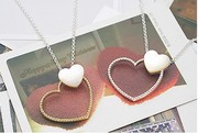 Sweet Hollow Out Heart To Heart Pendant Necklace HGE0087