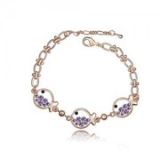 Fashion Three Fish Princess Crystal Jewelry Chain Bracelet 524282