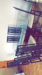 Cast Iron table with Glass top and six chairs for Sale in Monaghan