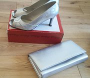Silver shoes and clutch bag combo